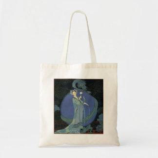 Señora del art déco del vintage y la bolsa de asas