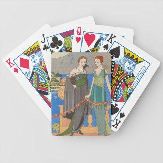 Señora del art déco - dos señoras que se colocan baraja de cartas bicycle