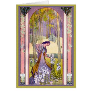 Señora del art déco en el jardín tarjeta de felicitación