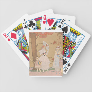 Señora del art déco - jugando con los chicas en el baraja de cartas bicycle