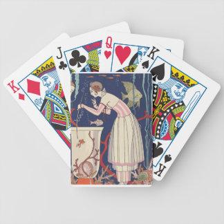 Señora del art déco - jugar pescados baraja de cartas bicycle