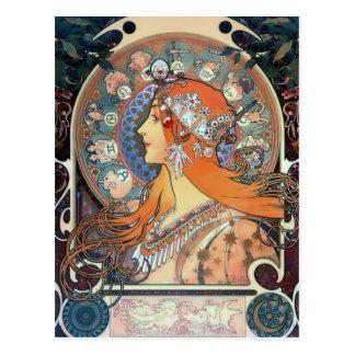 Señora del arte del vintage del art déco de la tarjeta postal