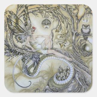 Señora del bosque pegatina cuadrada