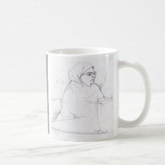 Señora del café express tazas de café