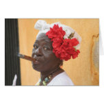 Señora del cigarro de Cuba Felicitaciones