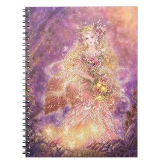 Señora del cuaderno del arte de la fantasía del bo