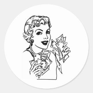 Señora del dinero de la cupón - añada su texto pegatina redonda