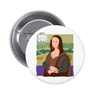 Señora del disco de Mona Lisa Pin Redondo 5 Cm