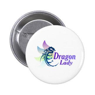 Señora del dragón pin redondo de 2 pulgadas