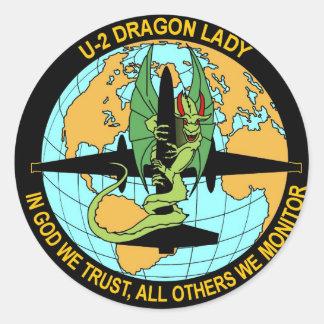 Señora del dragón U-2 Pegatina Redonda