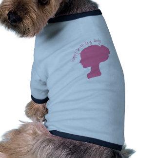 Señora del feliz cumpleaños camisa de perro