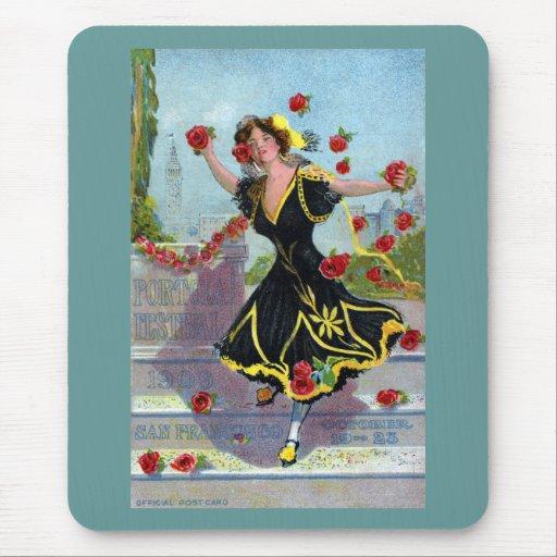 Señora del festival de Portola con los rosas 1909 Tapete De Ratones
