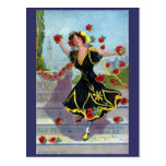 Señora del festival de Portola con los rosas 1909 Tarjetas Postales