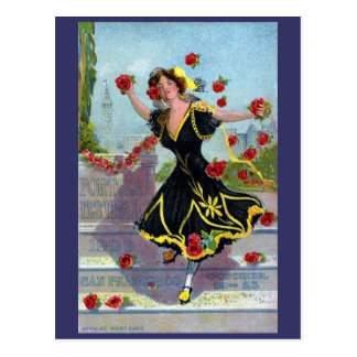 Señora del festival de Portola con los rosas 1909 Tarjeta Postal