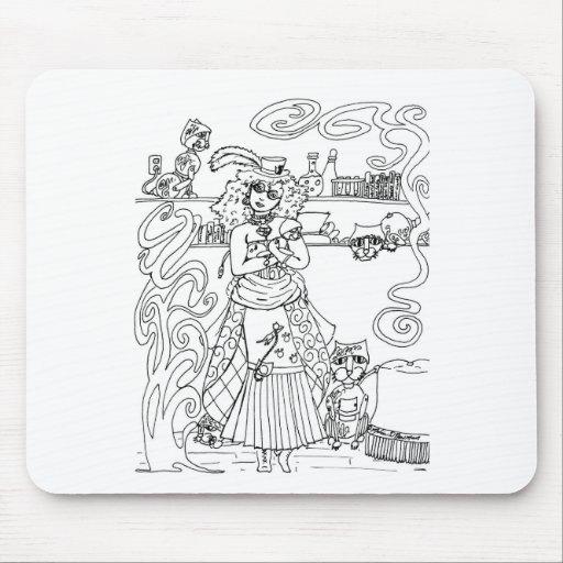 Señora del gato mouse pad