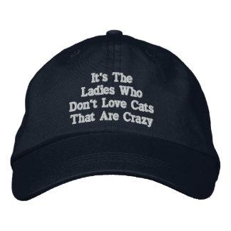 Señora del gato (no loco) gorra de béisbol