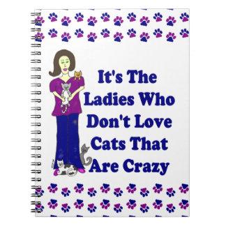 Señora del gato no loco libreta espiral