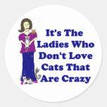 Señora del gato (no loco) pegatinas