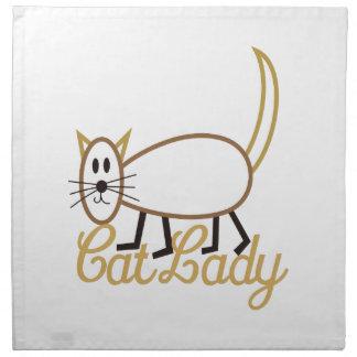 Señora del gato servilleta imprimida