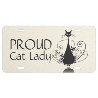 Señora del gato y placa orgullosas 1 de la familia placa de matrícula