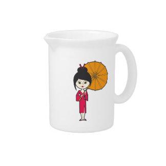 Señora del geisha del dibujo animado jarrón
