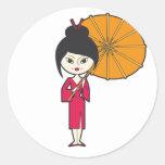 Señora del geisha del dibujo animado pegatina redonda