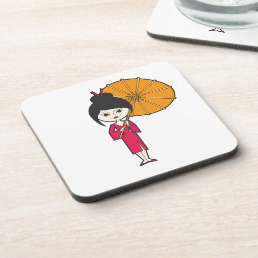Señora del geisha del dibujo animado posavasos