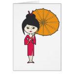 Señora del geisha del dibujo animado felicitaciones