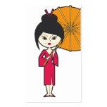 Señora del geisha del dibujo animado tarjetas de visita