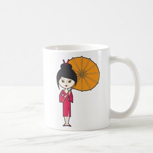 Señora del geisha del dibujo animado taza