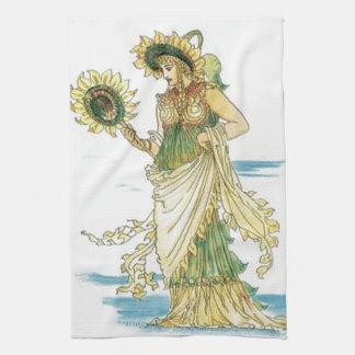Señora del girasol del vintage - toalla de cocina