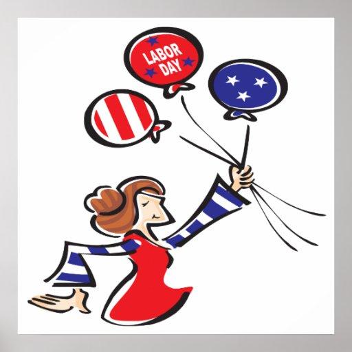 Señora del globo del Día del Trabajo Poster