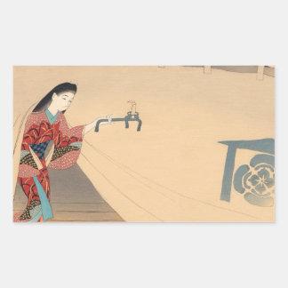 Señora del japonés de Toragozin Ishikawa Toraji de Pegatina Rectangular