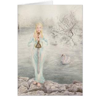 Señora del lago por el arte de Deanna Bach Tarjeton