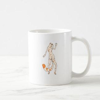 Señora del leopardo tazas de café