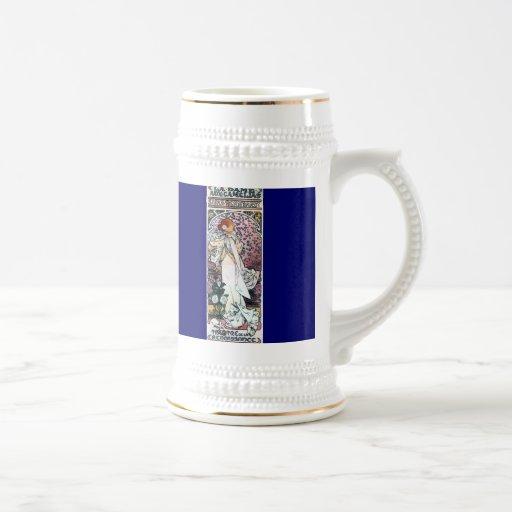 señora del mucha con nouveau del arte del thatre d taza de café