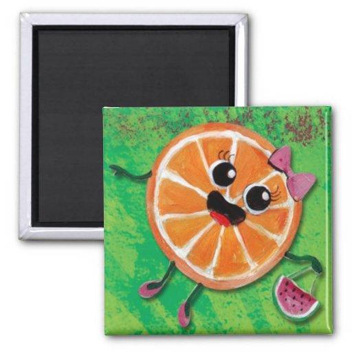 Señora del naranja dulce iman de frigorífico