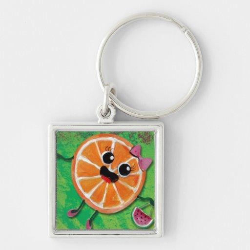 Señora del naranja dulce llavero cuadrado plateado