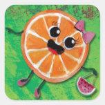 Señora del naranja dulce pegatina cuadradas personalizada