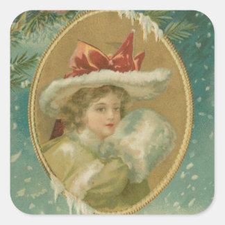 Señora del navidad del Victorian del vintage Calcomanía Cuadradas