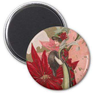 Señora del navidad del vintage de los Poinsettias Imán Redondo 5 Cm