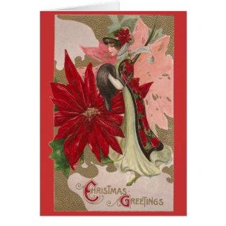 Señora del navidad del vintage de los Poinsettias Tarjeta De Felicitación