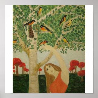Señora del pájaro póster