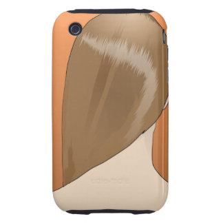 Señora del pelo de Brown iPhone 3 Tough Funda