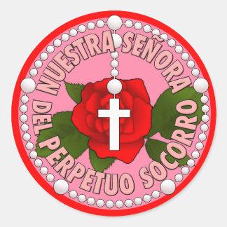 Señora del Perpetuo Socorro Etiqueta Redonda