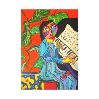 Señora del piano lona estirada galerías