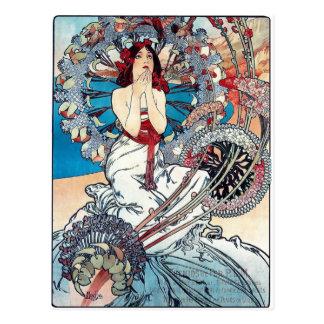 Señora del poster del art déco de Mucha Mónaco Tarjetas Postales
