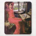 Señora del Pre-Raphaelite de Shalott de J.W. Water Alfombrillas De Ratón