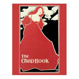 Señora del rojo de la revista de Nouveau del arte Postal