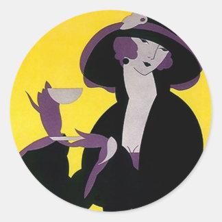 Señora del sostenido del art déco del té de tarde etiqueta redonda